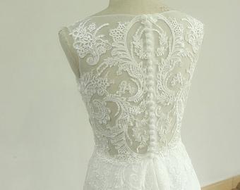Sleeveless Vintage Chiffon Lace Wedding Dress with Deep V neckline and Elegant Open Back