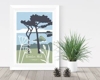 Nature print, Thatcher Rock in Torquay, Devon illustration, coastal giclee print, cow parsley and ribwort A4 or A3 print