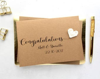 Personalised wedding card - Congratulations wedding card - Crochet hearts - Wedding keepsake card - Brown card