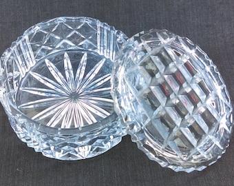 Vintage Cut Glass Jewelry Box - Lidded Cut Glass Trinket Box