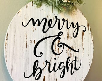Merry & Bright Wood Distressed Ornament