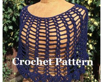 Pdf crochet pattern capelet Inez, lace poncho, neckwarmer, cowl