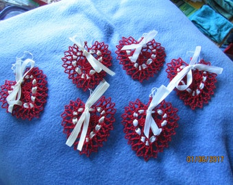 Handmade Crocheted Hearts Set of 6 Red with ribbons - New Valentines Christmas or Party Favor