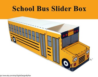 School Bus Slider Box printable favor/treat box