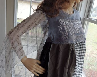 Boho Chic Musical Theater Print Tunic,  Lagenlook loosefit Top, Black  Patchwork Tunic, Upcycled Clothing Poorgirl , Sz Small