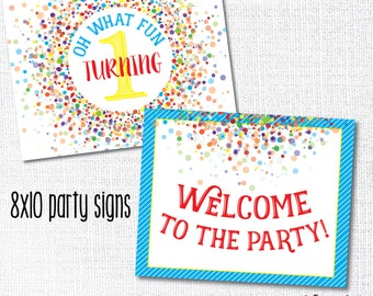 PRIMARY CONFETTI party signs, Oh What Fun, rainbow, party decoration, 1st birthday decor, diy, instant download, printable, digital file