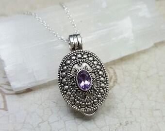 Stash Necklace - Amethyst secret box necklace - beautiful sterling silver filigree pill box pendant - genuine amethyst - prayer box pendant