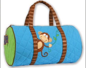 Personalized Stephen Joseph Quilted Duffle Bag, Monkey