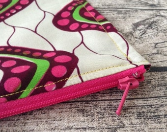 Large Zip up pouch. Pink, Green and White Cosmetic bag African print. Zippered pouch, make up,  Purse, cosmetic purse. Wax print