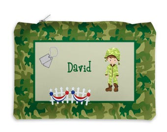 Military Personalized Pencil Case - Military Boy Girl Green Tan Camo with Name, Customized Pencil Case, Pencil Holder, Pouch