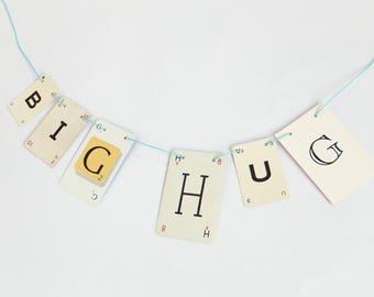 BIG HUG Bunting, Romantic Garland, recycled banner, banner, up-cycled bunting