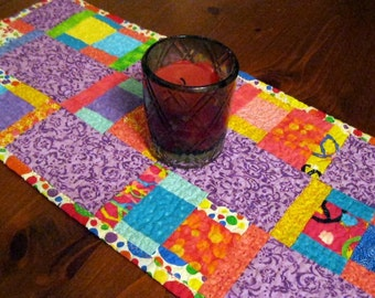 Multi Colors Table Runner, Quilted Runner,  Bright Colors Runner, Purple Runner, Pink Runner