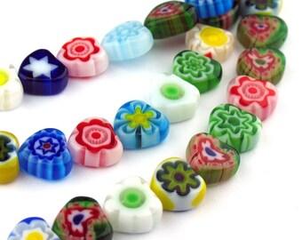 15pcs of 8.0mm Heart Flower Millefiori Glass Heart Coin Beads