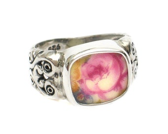 Size 8 Broken China Jewelry Pink Rose Roses AB Sterling Ring