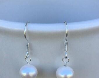 Genuine Pearl Drop Earrings, Sterling Silver French Hooks, Pearl Dangle Earrings Sterling Silver French Hooks