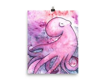 Octopus Galaxy Watercolor - Matte Print
