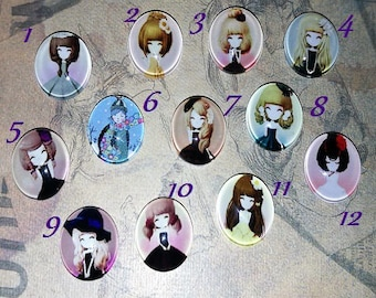4 cabochons spirit manga, 12 designs to choose from, 12mm glass domes
