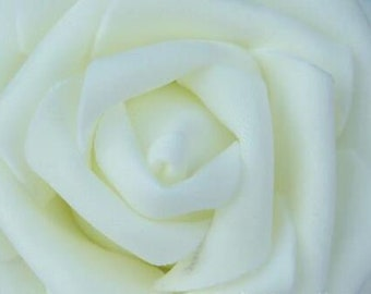 set of 5 pretty artificial flowers in the shape of rose - PALE yellow