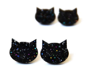 Glitter Cat Studs · Black Cat Earrings with Glitter · Black Cat Stud · Black Cat Earring · 2 sizes