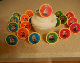 CLEARANCE***24 Minion Mayhem Despicable Me 3 Cupcake Cake Topper Rings Birthday Party Decoration/ Licensed