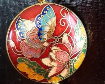 Red Enamel Cloisonne Oriental Far East Asian 2 Sided Butterfly Pendant with Tassel