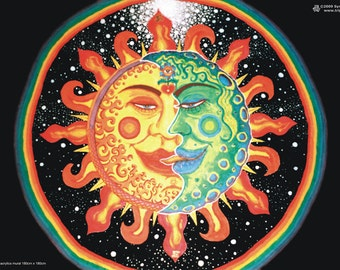 Sun and Moon UV Black Light Fluorescent & Glow In The Dark Phosphorescent Psychedelic Psy Goa Trance Art Poster
