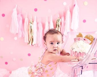 Princess Party Blush Pink, White, Gold banner, tissue banner, tassel banner, paper tassel, Birthday banner, 1st Birthday banner,baby girl fF