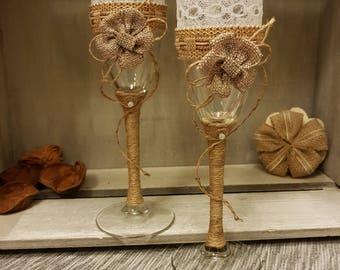 Rustic wedding glasses, Bride and Groom Toasting Glasses,Wedding toasting  flutes,rustic shampagne flutes,