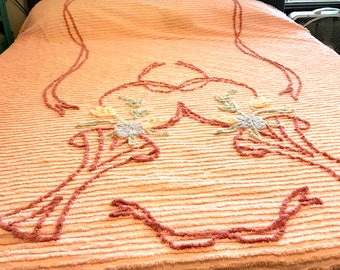 Pink Chenille Floral Bedspread- Queen/Full Bed