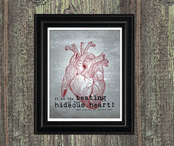 Tell Tale Heart Quotes: Edgar Allan Poe Art Quote HIDEOUS HEART Tell Tale Heart