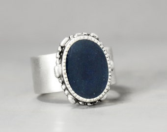 Blue Azurite Ring, Adjustable Ring, Blue Ring, Ornate Ring, Statement Ring, Grounding Ring, Meditation Jewelry, Crystal Jewelry,