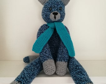 Blue cat with scarf
