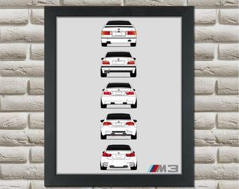 BMW M3 Generations Poster (rear) // E30 E36 E46 E92 F80 M3 /