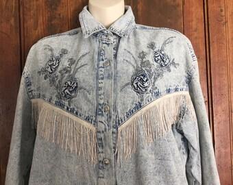 NEXT MOVE washed denim jacket, cowgirl style,  Size Medium - Large