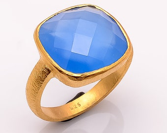 925 sterling silver Blue Chalcedony Gemstone Ring vermeil gold