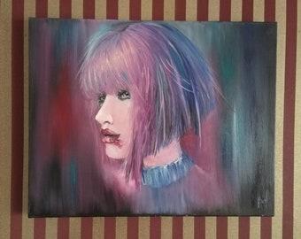 L.C. portrait painting, bloody lips, girl portrait, purple shades portrait, original painting, oil painting,