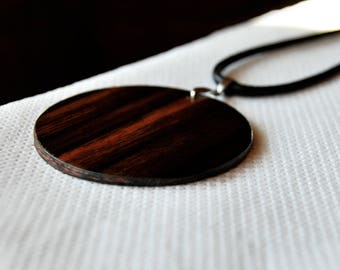Handmade Men Wood Necklace • Pendant Necklace • Ebony Wood Pendant • Gift For Him • Valentine Gift •  Valentine Gift For Him