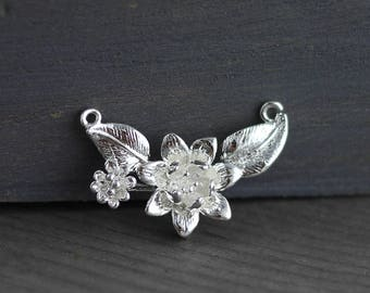 silver plated Brass Flower Charm Connectors 26x17x5mm 2pcs