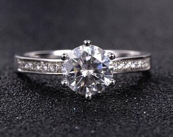 Moissanite Engagement Ring White Gold Round Cut Diamond Half Eternity Bridal Wedding Women Anniversary Engraving Gift for Her Antique