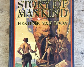 1926 Printing The Story of Mankind by Hendrik Van Loon, Vintage history book Children's, First Newberry Medal Winner, Gift for Teacher