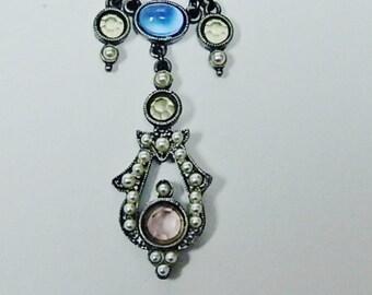 Vintage Designer Pendant Necklace Seed Pearls Rhinestones by Ben Amun