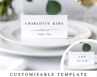 Print At Home Wedding Place Cards, DIY Wedding Placecard Template, Modern Calligraphy Seating Cards