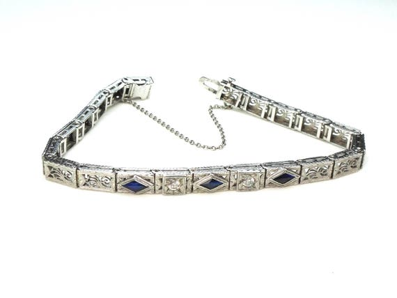 deco platinum vintage antique diamond bracelet jewelry art