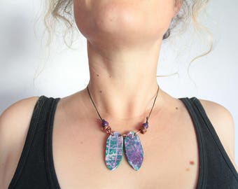 Handmade Green and Purple Statement Necklace Up-cycled Wood, Copper, Leather, Painted Wood, Boho, Hippie, Festival, Tribal, Geometric