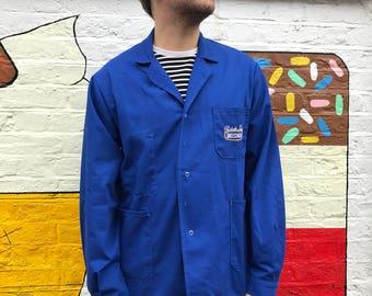 French Blue Workwear Jacket. Size Large Marked 48 Worker's Coat. Blue Workwear Chore Painter's Jacket. Sanfor Size Large Overalls.