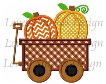Thanksgiving Pumpkin Wagon-01 Applique Machine Embroidery Design NO:0212