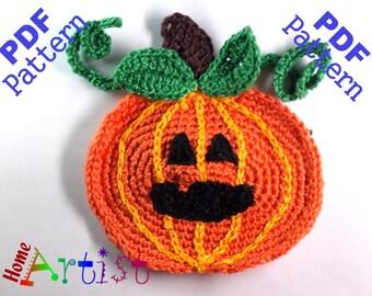 Pumpkin + Hat Halloween crochet Applique Pattern
