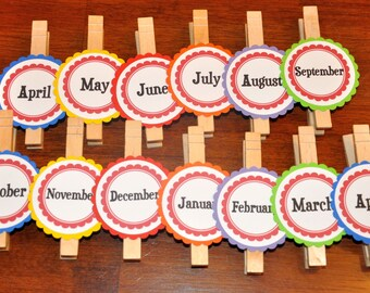Month Photo Clips. Photo Banner. Picture Banner. Great for Birthdays. Rainbow