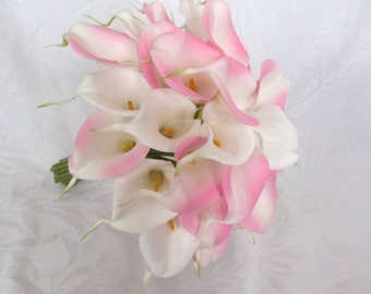 Pink and white mini real touch calla lily bridal bouquet set