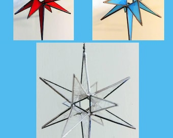 Stained Glass Moravian Star - Glass Sculpture by Fragile Beauty - Moravian Star by Sarah Segovia - 3D Hanging Star - Stained Glass Star